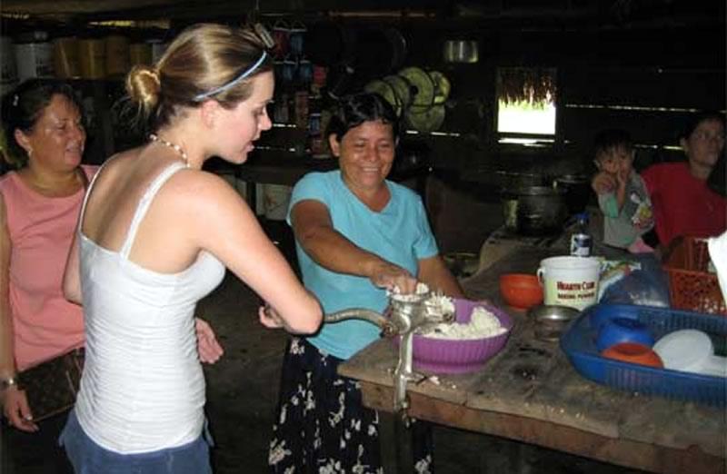 Student Making Tortillas