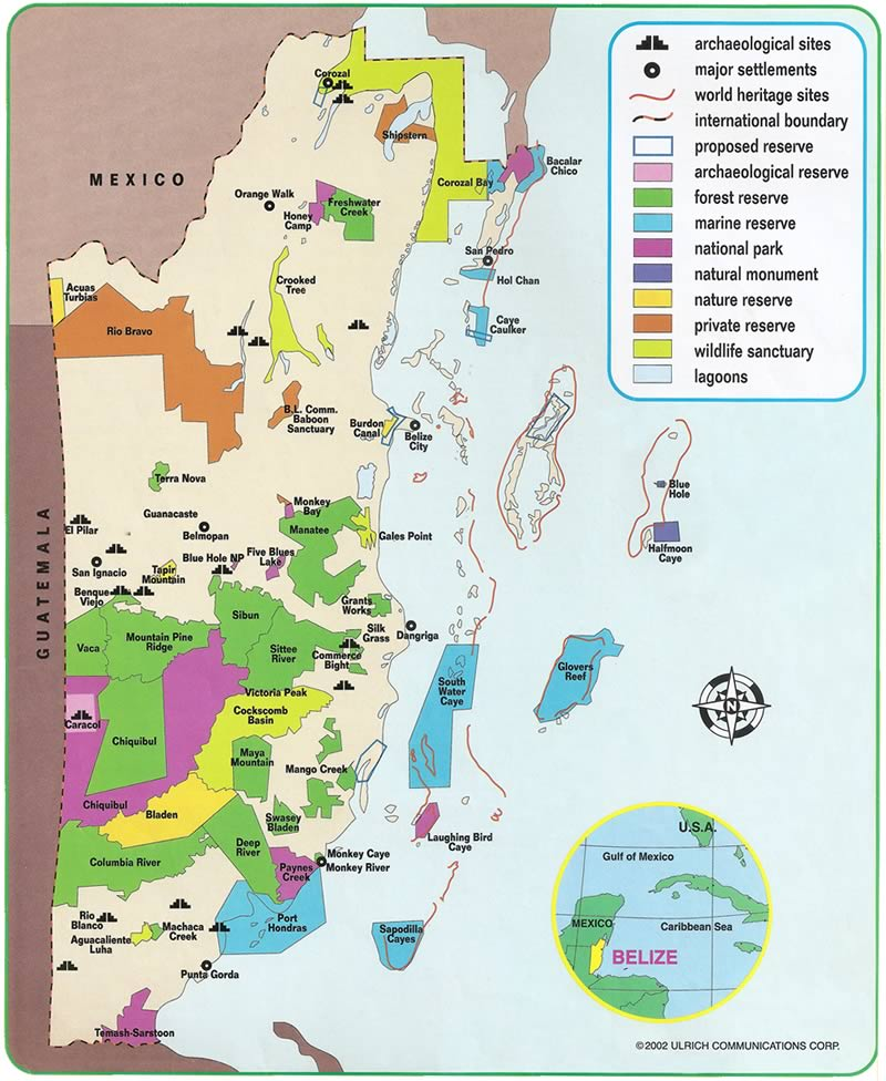 Map of Belize Protected Areas